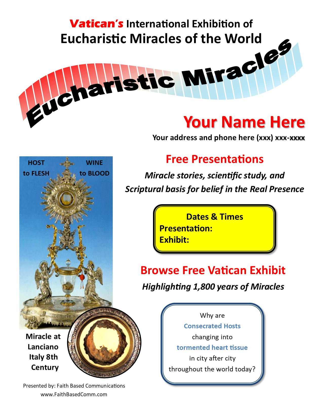 Eucharistic Miracles Presentation Flyer - Sample