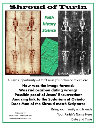 Sample invitational flyer for Shroud of Turin, Sudarium of Oviedo, and Tunic of Argenteuil